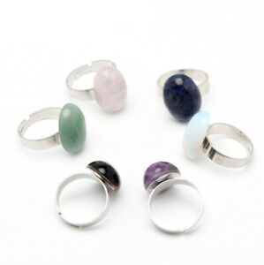 MIX 6 PCS Oval Moonstone Tiger's Eye Amethyst Jade Lapis Lazuli Gem Silver Rings