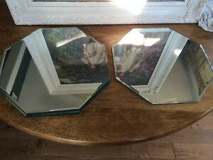 Vintage Mirror Glass Placemats Trays Octagon 4
