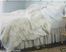 Shabby Chic Reversible DAMASK Floral Comforter Set - White Tan Neutral TWIN =NEW