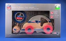 New England Patriots Baby's First Toy Pack NFL Wooden Rattle Car MINT NIB