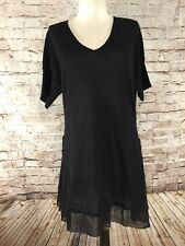 NWT TOMMY BAHAMA Women's Beach Sweater Large Tunic Top L Chiffon Trim Cover Up