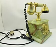 VINTAGE ONIX MARBLE ROTARY TELEPHONE 18K GOLD PLATED ITALY COLLECTIBLE