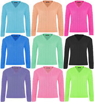 Ladies Crub Cable Knitted Long Sleeve Jumper Womens V Neck Winter Wear Sweater