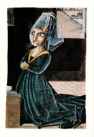 CATS' PERSONALITIES: KNEELING FEMALE DONOR Petrus Chrisrus Modern Russian card