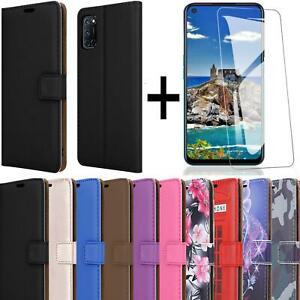 For Oppo A72 Phone Case Leather Wallet Flip Stand Cover + Screen Tempered Glass
