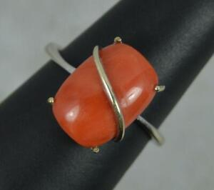 Vintage 18 Carat White Gold and Single Coral Solitaire Statement Ring
