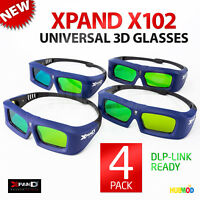 LOT of 4 Pack XPAND X-102 3D Glasses DLP-Link Universal Active Shutter NEW