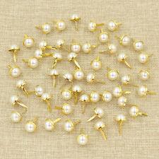 50pcs Faux Pearl Gold Trim Brads Shoe Decor Embellishment DIY Craft Material