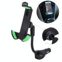 3 USB Ports Car Mount Charger Holder Cigarette Lighter Socket For Mobile Phones