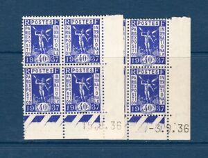 Bloc de 4 timbres neufs avec coin daté Expo. intern. de Paris 1937 - n°324