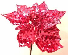 Large Ruby Red Sequin Poinsettia Artificial Flower with Jeweled Centre ~ 81-1891