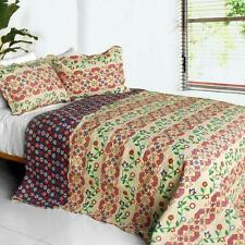 3 Pc Glitter country blue green red pattern vines 100% Cotton Queen Quilt Shams