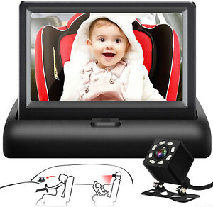Baby Car Mirror 4.3'' HD 8 IR LEDs Night Vision Safety Car Seat Mirror Camera