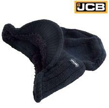 JCB Peak Beanie Hat Black Insulated Warm Thermal Winter Stylish Peak Wool Cap Sz