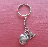 Teacher Keyring and Initial Letter A to Z Keychain Charms personalise gift