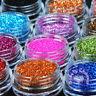12 Mix Colours Nail Art Craft Acrylic Fine Metal Glitter Powder Pots-Tips