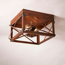 Irvin Country Tinware Double Ceiling Light Folded Bars Rustic Tin NEW FREE SHIP