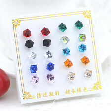 10Pair Vintage Women Girls Rhinestone Cube Ear Stud Earrings Fashion Jewelry Set