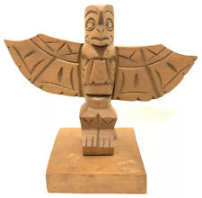Salish Cedar Carved Totem Gideon Billy Squamish Indian Tribe Artist Signed Bird