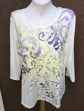 New Chico's Zenergy Lynzie Scroll Foiled Embellished Top Size 3 = XL 16 18 NWT