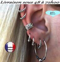Ensemble 6 Boucles d'oreille femme  Boho Bohème vintage G3B