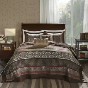 XXXX-L EXTRA LARGE BROWN RED TAUPE GREY LEAF LOG CABIN LODGE BEDSPREAD SET NEW
