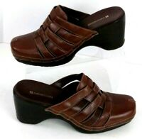 """Naturalizer Slip On Clogs Mules Women's Size 10M Brown Leather Woven 3"""" Heel"""