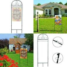 Garden Flag Holder Flagpole - Black Metal Powder-Coated Garden Flag Arbo
