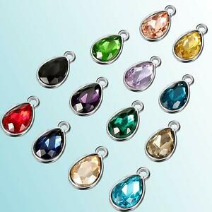 4 Glass Teardrop Charms Assorted Colors Birthstone Pendants Mix Jewelry Supply