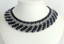 Handmade Statement Collar Pearl Swarovski Necklace Black & Silver Beaded