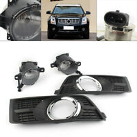Pair Front Bumper Fog Lamps Driving Lights & Covers For Cadillac SRX 2010-2016
