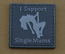 "PVC / Rubber Patch ""I Support Single Mums Subdued"" with VELCRO® brand hook"