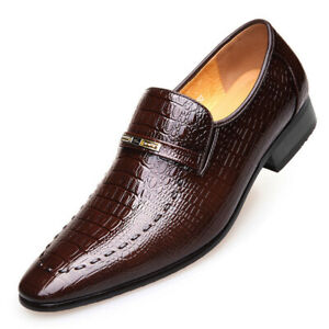 Mens Oxfords Dress Shoes Crocodile Pattern Business Leisure Work Casual Formal