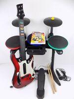 Nintendo Wii Guitar Hero Rock Band Bundle Drum + Guitar + Mic + World Tour