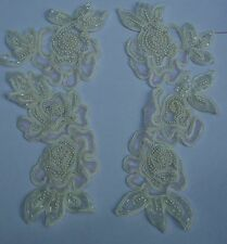 Gorgeous Beaded Ivory Pearls and Glass Beads Appliques[ Pair ]