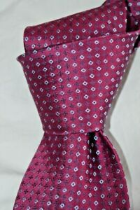"$245 NWOT CHARVET VENDOME Raspberry geometric men's 3.5"" woven silk tie FRANCE"