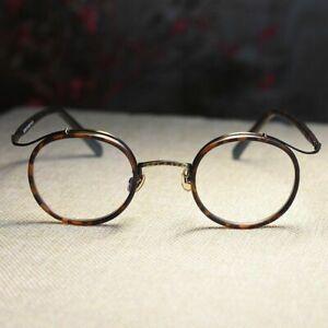 Retro round dark tortoise eyeglasses womens mens clear lens RX optical eyewear