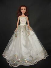 White Gown with Bright Blue Floral Lace Details Made to Fit Barbie Doll