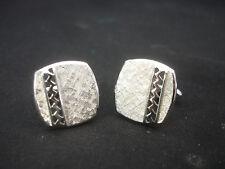 Old Vtg Silver Tone Swank Square Decorative Cufflinks Jewelry