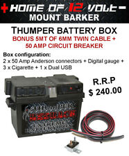 Thumper STD Battery Box SILVER model + cable 4WD 4X4 HOUSING FOR DEEP CYCLE AGM