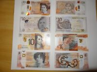 Set of 4 British Polymer £10.00 Banknotes, New, Uncirculated