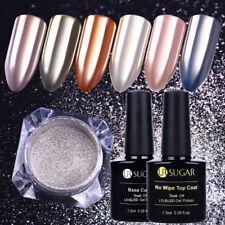 3Pcs Nail Glitter Powder Dust No Wipe Topcoat Base Coat Gel Polish Nail Art Kit