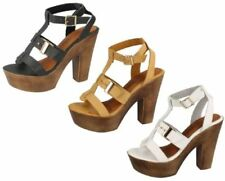 Spot On Block Heel Peep Toes Synthetic Heels for Women