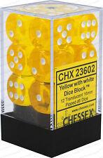Chessex Dice Block: Translucent Yellow with White d6 12-Dice Set CHX23602
