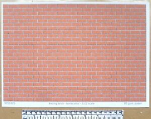 "Dolls house 1/12th scale ""Facing brick - terracotta"" paper - A4 sheet"