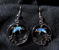 """Sterling 925 Silver SF Dangle Hook Earrings Blue Fire Opal Dolphin 1 1/2"""" Drop"""