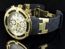Mens Aqua Master El Russo W#346 Gold Rubber Band Sports Diamond Watch 0.20 Ct