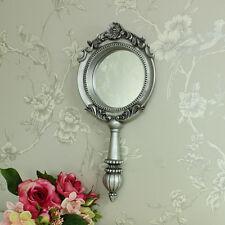 large  silver vintage handheld vanity mirror wall mountable table top bathroom