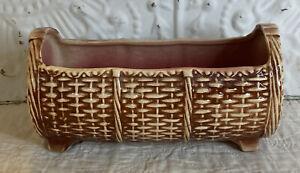 Vintage McCoy Pottery Rectangular Footed  Planter   Basket Weave  Brownish Red