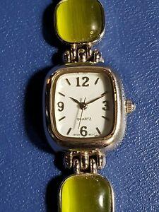 Beautiful Silver-tone Women's Quartz Watch with Iridescent Green Stones